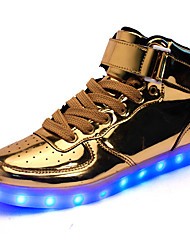 Men's Sneakers Comfort Light Up Shoes Fall Winter Leatherette Walking Shoes Athletic Casual Outdoor Hook & Loop LED Low Heel Gold White