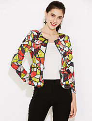 baratos -Mulheres Jaqueta Para Noite Estampa Colorida Frufru