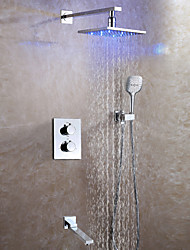 Contemporary LED Wall Mounted Rain Shower Thermostatic Ceramic Valve Two Handles Four Holes Chrome , Shower Faucet