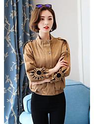 Feminino Jaqueta Casual Simples Outono,Sólido Curto Algodão Colarinho de Camisa Manga Longa