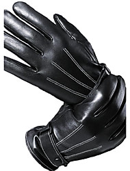 cheap -Men's Telefingers Drive Cycling Gloves Genuine Leather Fur Wrist Length Fingertips Windproof Keep Warm Waterproof Black