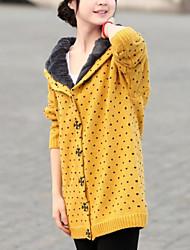 Damen Gefüttert Mantel,Lang Einfach Lässig/Alltäglich Punkt-Baumwolle Polyester Langarm