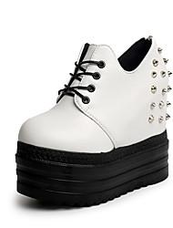 Women's Boots Fashion Boots PU Fall Winter Casual Zipper Wedge Heel White Black 3in-3 3/4in