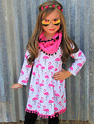 Girl's Animal Print Dress Cotton Spring Fall Long Sleeve Red Crane Dot Kids Girls Dress 2017 New Fashion Girls Clothes