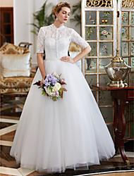 economico -vestito da cerimonia nuziale del merletto di lunghezza del pavimento del pavimento dell'abito di sfera con la perla di yuanfeishani