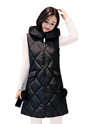 Women's Plus Size Simple Fall Winter Vest,Solid Hooded Sleeveless Long Cotton