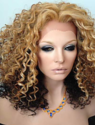 cheap -Human Hair Full Lace Wig Kinky Curly 130% Density 100% Hand Tied African American Wig Natural Hairline Ombre Hair Short Medium Long