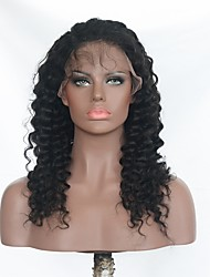 cheap -Human Hair Brazilian Lace Wig Wavy Deep Wave With Baby Hair Lace Front 100% Hand Tied Natural Hairline 130% Density Natural Black 16 inch