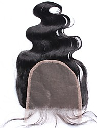 cheap -5x5 Lace Closure Bleached Knots Body Wave Indian 100% Human Hair Closure With Baby Hair Natural Black Color Free/MiddleThree Part