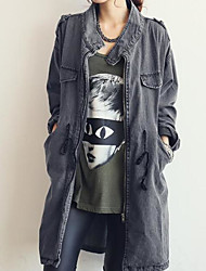 Giacca di jeans Da donna Per uscire Casual Semplice Primavera Autunno,Tinta unita A cappuccio Cotone Lungo Manica lunga