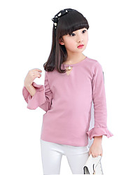 cheap -Girls' Solid Tee, Cotton Polyester Spring Fall Long Sleeves White Blushing Pink