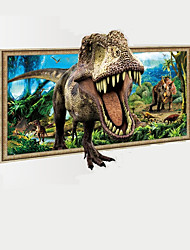 3D Dinosaur Through Landscape Painting Wall Stickers Animals Dinosaur Wall Decals Home Decor For Baby Kids Nursery Room Living Room