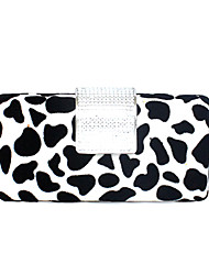 cheap -Women's Bags PVC Evening Bag Leopard Crystal Metallic Chain for Event/Party All Seasons Black-white