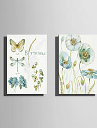 E-HOME Stretched Canvas Art  Quietly Elegant Flowers And Butterflies Series 2  Decoration Painting Set Of 2