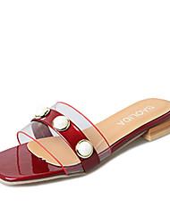 cheap -Women's Sandals Transparent Shoe Comfort Light Soles Spring Summer PU Casual Dress Imitation Pearl Flat Heel White Black Burgundy 1in-1