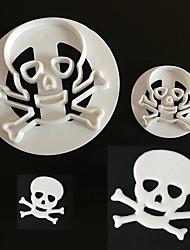2Pcs Skull Head Turned Sugar Cake Printing Die Biscuit Mold Baking Mold Tool