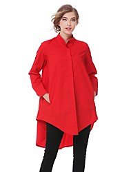 ANGELL Women's Going out Casual/Daily Simple Street chic Summer Fall ShirtSolid Shirt Collar Long Sleeve Cotton Medium
