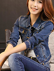 cheap -Women's Denim Jacket - Solid Shirt Collar