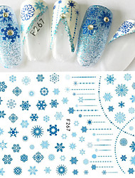1pcs Christmas Hot Fashion Nail Art 3D Sticker Beautiful Snowflake Pattern Design Charming Blue Snowflake Sweet Decoration Manicure DIY Beauty F267