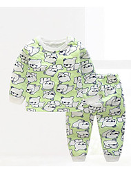 cheap -Baby Children's Casual/Daily Geometic Clothing Set, Cotton Winter Fall Blue Green Yellow