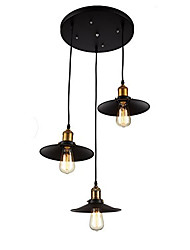 cheap -Vintage Industrial Metal Pendant Lamp with 3-Lights Chandelier Living Room Dining Room Light Fixture