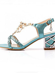 Damen Schuhe PU Sommer Gladiator Sandalen Für Normal Gold Silber Blau
