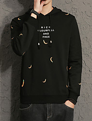 Men's Daily Plus Size Casual Hoodie Print Hooded Micro-elastic Cotton Spandex Long Sleeve Spring Fall