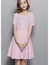 Women's Daily A Line Dress,Striped Strap Above Knee L 50-60cm Short Sleeves Cotton Summer Mid Rise Micro-elastic Opaque