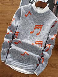 economico -Standard Pullover Da uomo-Quotidiano Per uscire Tinta unita A strisce Monocolore Rotonda Manica lunga Cotone Rayon Inverno Autunno Spesso