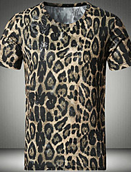 Men's Casual/Daily Simple Spring Summer T-shirt,Leopard Animal Print Round Neck Short Sleeves Cotton