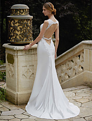 cheap -Mermaid / Trumpet Straps Sweep / Brush Train Satin Wedding Dress with Appliques by LAN TING BRIDE®