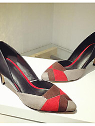 Women's Heels Comfort Basic Pump Fall Winter Real Leather PU Casual Screen Color 4in-4 3/4in