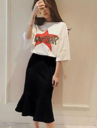 preiswerte -Damen T-shirt - Solide Buchstabe & Nummer Rock