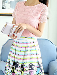 Women's Going out Sexy Summer Blouse Skirt Suits,Lace Printing Round Neck Short Sleeve
