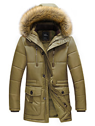 Men's Long Padded Coat,Casual Daily Plus Size Solid-Polyester Cotton Long Sleeves Hooded
