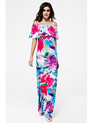 cheap -Women's Daily / Club Street chic Bodycon Dress - Floral / Color Block Backless / Layered High Rise Maxi Boat Neck / Summer