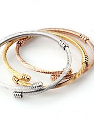 billige -Herre Dame Armbånd Manchetarmbånd - Titanium Stål Klassisk, minimalistisk stil, Mode Armbånd Guld Til Bryllup Fødselsdag Daglig