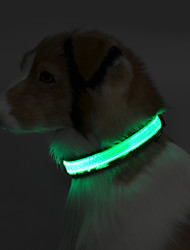 cheap -Dog Collar Reflective / LED Lights Solid Colored Terylene Green / Blue / Pink