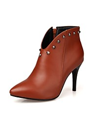 Women's Boots Gladiator Fashion Boots Bootie Fall Winter Leatherette Dress Office & Career Rivet Zipper Stiletto Heel Black Ruby Light