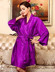 economico -abiti da donna in raso& indumenti da notte in seta con cintura, sexy in poliestere medio-solido
