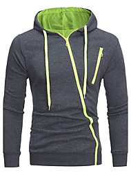 Men's Daily Going out Street chic Hoodie Solid Hooded Micro-elastic Cotton Polyester Long Sleeve Winter Fall