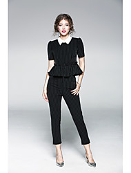 cheap -JOJO HANS Women's Daily Sophisticated Spring T-shirt Pant Suits,Solid Striped Shirt Collar Short Sleeve Polyester