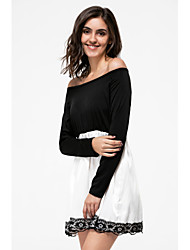 cheap -Women's Party Skater Dress - Color Block Lace Mini Off Shoulder / Fall