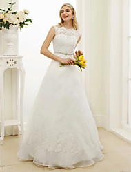 cheap -A-Line Illusion Neckline Floor Length Lace Organza Wedding Dress with Appliques Sash / Ribbon by LAN TING BRIDE®