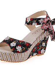 Women's Sandals Comfort Summer Fabric Walking Shoes Casual Bowknot Wedge Heel Black Ruby Blue 3in-3 3/4in