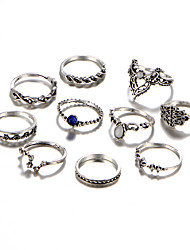 Women's Ring Crystal Synthetic Diamond Rhinestone Punk Personalized Hip-Hop Rock Gothic Luxury Simple Style Alloy Circle Geometric