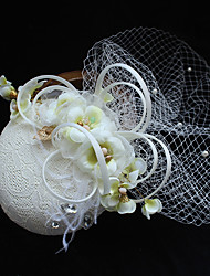Tulle Chiffon Imitation Pearl Lace Feather Fabric Silk Net Headpiece-Wedding Special Occasion Birthday Party/ EveningFascinators Hats