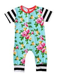 Une-Pièce bébé Fleur Coton Printemps/Automne Eté Manches Courtes