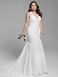 cheap -Mermaid / Trumpet Plunging Neck Court Train Lace Made-To-Measure Wedding Dresses with Appliques by LAN TING BRIDE® / Open Back