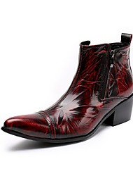 cheap -Men's Boots Amir's New Arrival Fashion Bootie Cowhide Leather Casual Party & Evening Burgundy Ruby